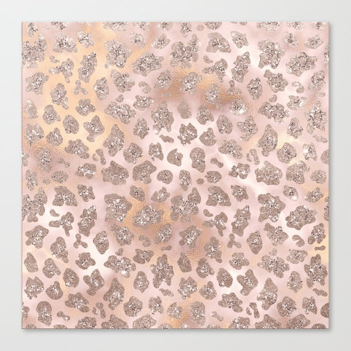 Rosegold Blush Leopard Glitter   Leinwanddruck