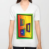frames V-neck T-shirts featuring Mysterious frames I by Horacio Moschini
