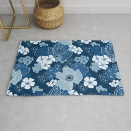 Classic Blue Poppies Rug