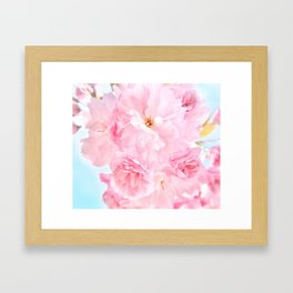 Soft Blue Sky with Pink Peonies Framed Art Print