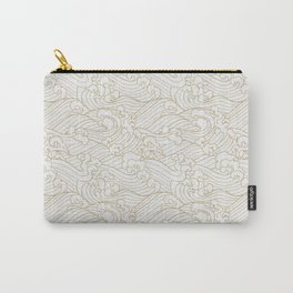 Golden Waves in White Carry-All Pouch