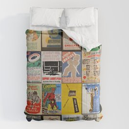 Full Vintage Poster Collage Comforters