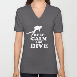 Keep calm and dive Unisex V-Neck