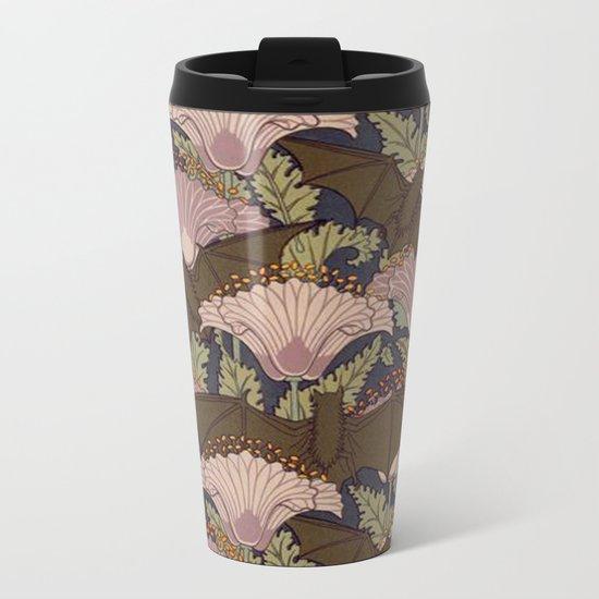 Vintage Art Deco Bat and Flowers Metal Travel Mug