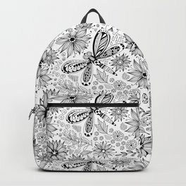 Dragonfly and flowers doodle Backpack