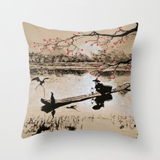 Bird Fishing Throw Pillow