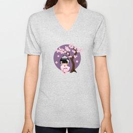 Japanese Bride Kokeshi Doll on Purple Unisex V-Neck