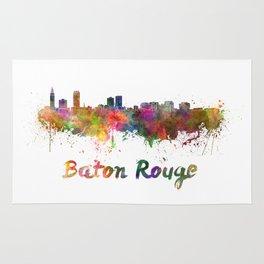 Baton Rouge skyline in watercolor Rug