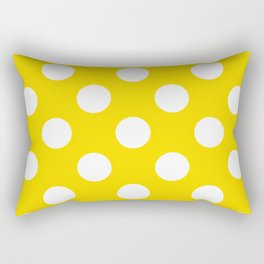 Geometric Orbital Spot Circles In Bright Summer Yellow & White Rectangular Pillow