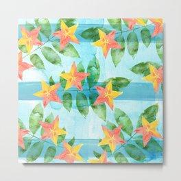 Exotic Star Fruit Pattern Metal Print