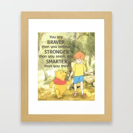 Christopher and Pooh Bear Framed Art Print