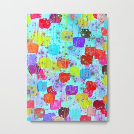 SPECKLE ME DOTTY - Bright Polka Dot Cheerful Aqua Turquoise Blue Rainbow Fine Art Abstract Painting Metal Print