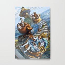 Steampunk Alice in Wonderland Teacups Metal Print