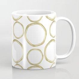 White & Gold Circles Coffee Mug