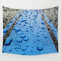 racing Wall Tapestries featuring Raindrop Racing Stripes by VHS Photography