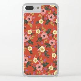 Vermillion Floral Clear iPhone Case