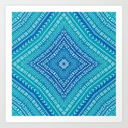Blue Boho Kaleidoscope Art Print