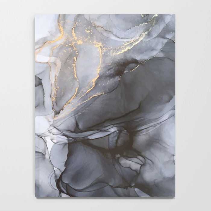 Calm but Dramatic Light Monochromatic Black & Grey Abstract Notebook