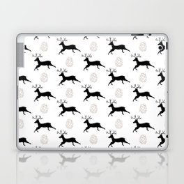 Jumping Deer and Pinecone Rustic Illustrated Print Laptop & iPad Skin