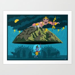 Krishna and Indra Art Print