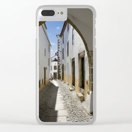Marvao cobbled street Clear iPhone Case