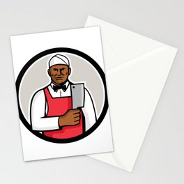 African American Butcher Circle Mascot Stationery Cards