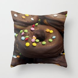 Donuts with colored candies Throw Pillow