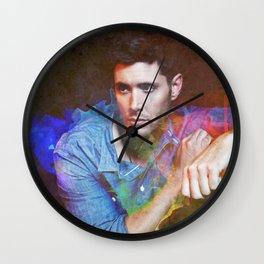 Jensen Ackles Watercolour Abstract Wall Clock