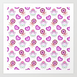 Lovely cute happy baby penguins with flapping wings, retro vintage lollipops and sweet candy hearts Art Print
