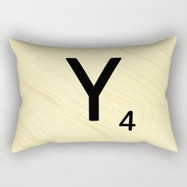 Scrabble Y Initial - Large Scrabble Tile Letter Rectangular Pillow