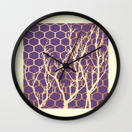 Puce Purple & Cream Trees Abstract SilouetDesign Wall Clock