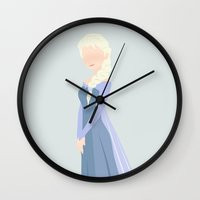 frozen elsa Wall Clocks featuring Elsa, Frozen by carolam