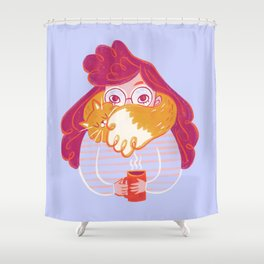 Cozy Cat Scarf Coffee Time Shower Curtain
