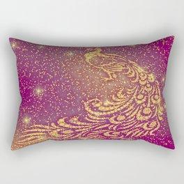 Sparkling Red & Yellow Peacock Rectangular Pillow