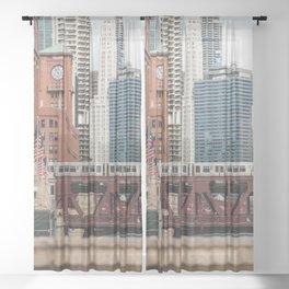 Wells Street Bridge - Chicago Photography Sheer Curtain