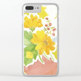 Daisy with Yellowed Green Clear iPhone Case