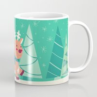 reindeer Mugs featuring Reindeer by Claire Lordon
