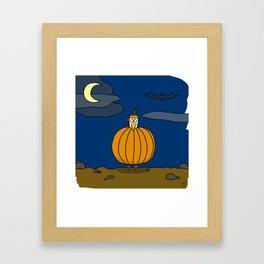 Eglantine la poule (the hen) dressed up as a pumpkin Framed Art Print