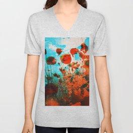 Red Poppies Unisex V-Neck