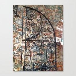Iron gate, stone wall, St. Thomas USVI Canvas Print