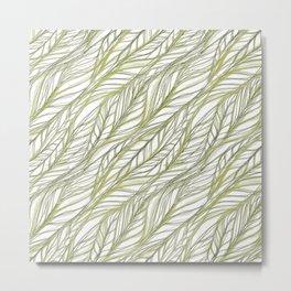 Woven Green Leaves Metal Print