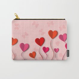 Heart flowers and butterflies 3D Carry-All Pouch