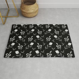 Venomous decorative snakes, lovely blooming winter tulips, little leaves. Serpents botanical animal artistic nature black and white floral elegant stylish gothic vintage pattern. Rug