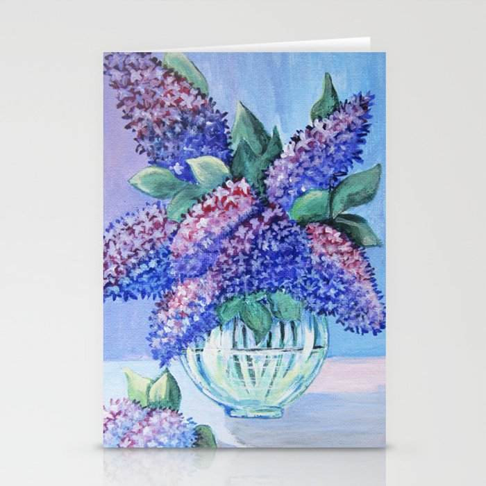 Bouquet Of Lilac In A Glass Vase Arwrk Stationery Cards By