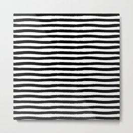 Black And White Hand Drawn Horizontal Stripes Metal Print