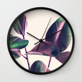 Pink and Green Iridescent Leaves Wall Clock