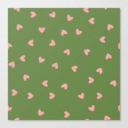 Pink Hearts on Green Background Canvas Print