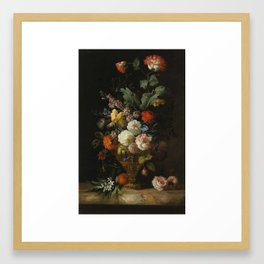 by the painter Jacob Bogdani, - A Still Life of Roses and other Flowers Framed Art Print