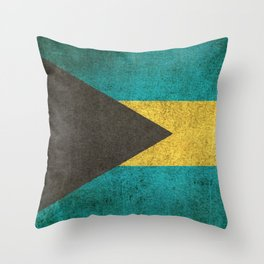 Old and Worn Distressed Vintage Flag of Bahamas Throw Pillow
