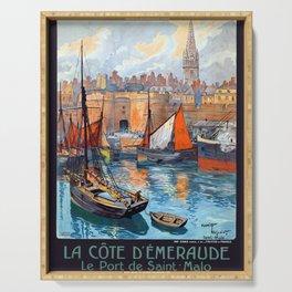 Vintage Saint-Malo Emerald Coast France Travel Serving Tray